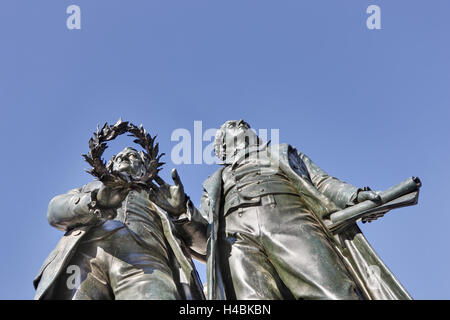 Germany, Thuringia, Weimar, Goethe and Schiller monument, detail, - Stock Photo
