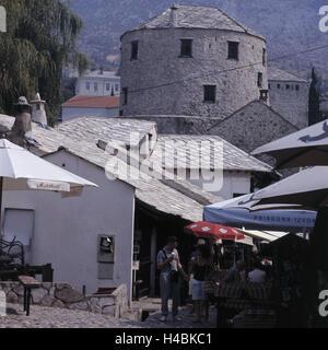 Bosnia-Herzegovina, Mostar, Old Town, lane, - Stock Photo