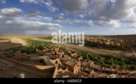 Africa, Morocco, Atlas Mountains, Ouarzazate, kasbah Ait Ben Haddou in the evening light, - Stock Photo