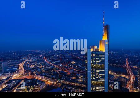 Germany, Hessen, the Rhine Main region, Frankfurt am Main, city centre, Zeil, Commerzbank Tower, view from the Main - Stock Photo