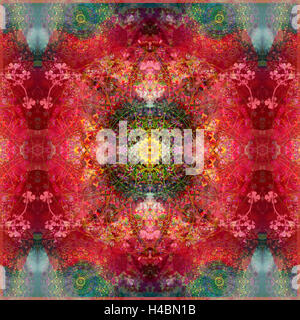 an energetic symmetric onament from flower photographs - Stock Photo