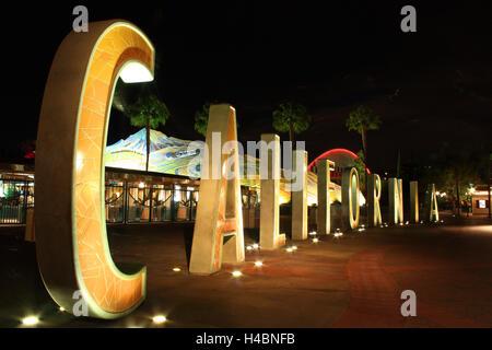 Night Photography: Disneyland Anaheim, Los Angeles, California - Stock Photo