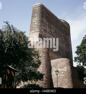 Maiden Tower in Baku's Old Town - Stock Photo