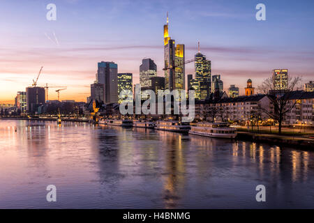 Germany, Hesse, Frankfurt on the Main, skyline, Flößerbrücke, night - Stock Photo