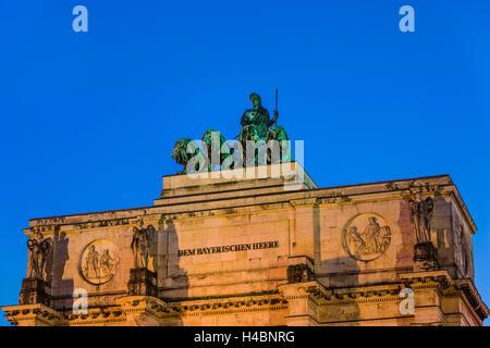 Germany, Bavaria, Upper Bavaria, Munich, Schwabing, Leopoldstraße, Siegestor (Victory Gate) with Bavaria and quadriga - Stock Photo