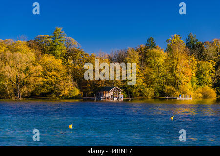 Germany, Bavaria, Upper Bavaria, Pfaffenwinkel, Fünfseenland area, Feldafing, Lake Starnberg, rose island - Stock Photo
