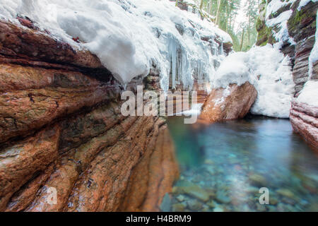 Rock formation at the Taugl in winter, waterfall, Salzburg, Austria - Stock Photo