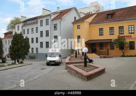 houses under tile in empty little yard in old part of Minsk, May, 2015 - Stock Photo