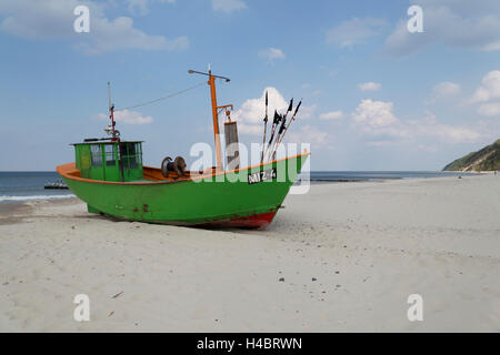 Fishing boats on the beach of the Baltic Sea near Misdroy in the national park Wollin in the West Pomeranian Voivodeship, - Stock Photo