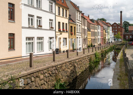 the Grube river or Mühlenbach,  historic old town, Hanseatic City of Wismar, Mecklenburg-Vorpommern, Germany - Stock Photo