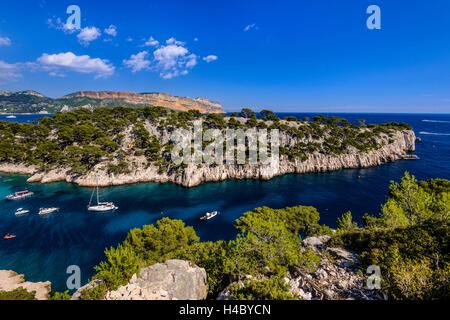France, Provence, Bouches-du-Rhône, Riviera, Cassis, Calanque de  Port Pin against Cap Canaille - Stock Photo