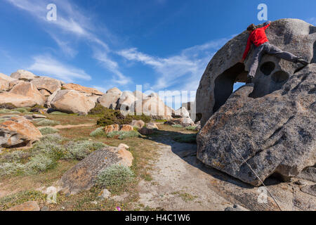 Europe, France, Corsica, bouldering in Capineru - Stock Photo