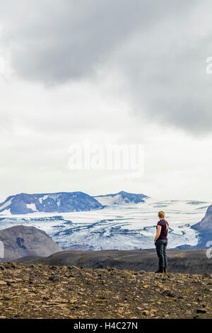 Young woman overlooking a glacier in Iceland. - Stock Photo