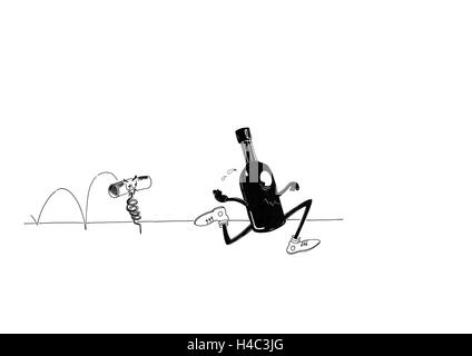 Bottle running away from the cork - Stock Photo