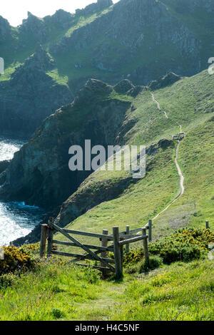 South West Coast Path at Prawle Point, South Devon - Stock Photo