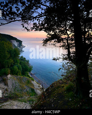 Chalk rocks, sunrise, National Park Jasmund, island Rügen, Mecklenburg-West Pomerania, Germany - Stock Photo
