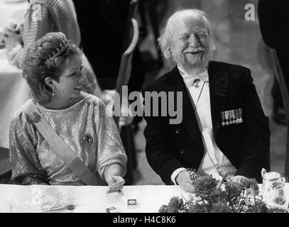 WILLIAM GOLDING author England with Princess Christina at Nobel banquet 1983 when he awarded Nobel prize in literature - Stock Photo