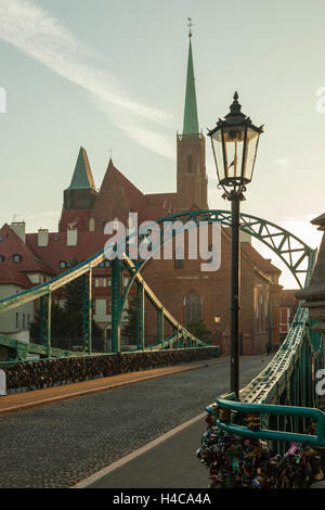 Autumn morning at Tumski Bridge in Wroclaw, Dolny Slask, Poland. - Stock Photo