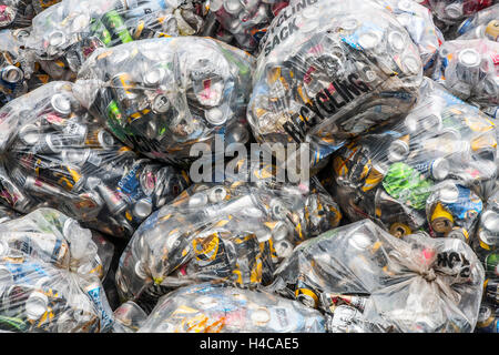 Baled recycled, recycling refuse, trash, crushed, metal, garbage, garbage, compressed cans at Blairgowrie Adult - Stock Photo
