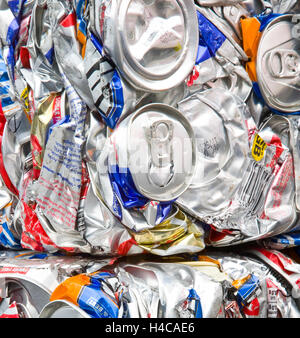 Baled Recycled Beer & Soft drink crushed aluminium waste cans, metal, garbage, empty container, recycling in Blairgowrie - Stock Photo