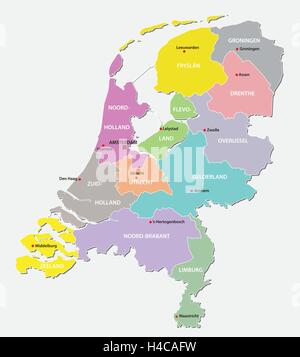 netherlands administrative map - Stock Photo
