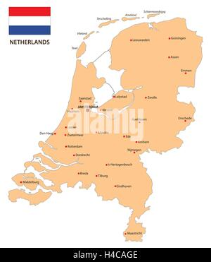 netherlands map with flag - Stock Photo