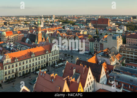 A view on medieval market square in Wroclaw old town, Lower Silesia, Poland. - Stock Photo