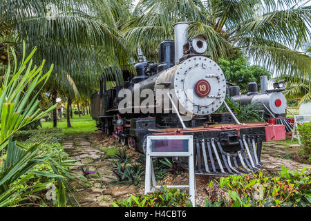 Historical steam locomotives exhibit and nostalgic railway on the area the sugar museum Marcelo Salado, Caibarién, - Stock Photo