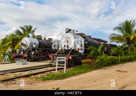 Historical steam locomotives exhibit, nostalgic railway on the area the sugar museum Marcelo Salado, Caibarién, - Stock Photo