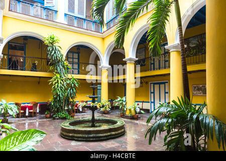 Inner courtyard Casa del Marqués de Aguas Claras, restaurant, palace from the colonial age, plaza de la Catedral, - Stock Photo