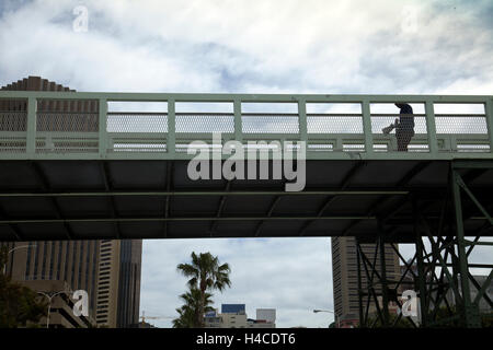 Steel Pedestrian Bridge in Cape Town - South Africa - Stock Photo
