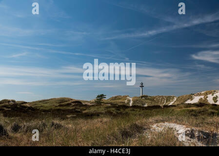 Lighthouse on Bornholm, Denmark, Dueodde Fyr, view about the dunes and Sand to the lighthouse in the horizon, nice - Stock Photo