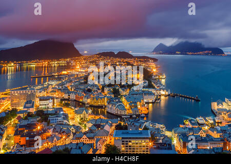 Alesund is a city and municipality in Møre og Romsdal on the west coast of Norway. - Stock Photo