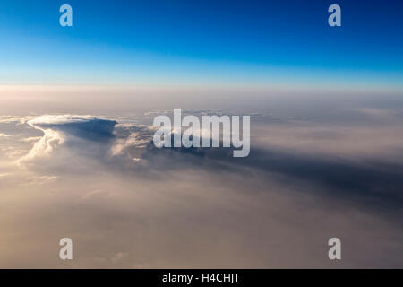 Spain, Canary islands, Tenerife, flight, over the clouds, sunrise - Stock Photo