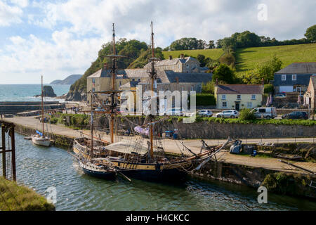 Charlestown harbour, Cornwall, UK with tall ships moored in the habour - Stock Photo