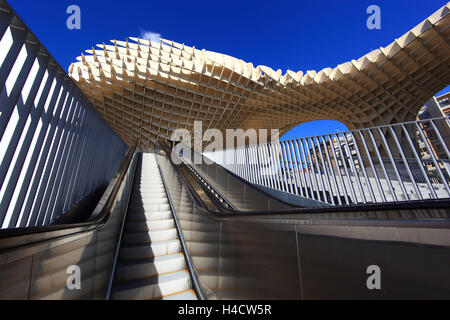 Spain, Andalusia, in the Old Town Seville, the Metropol Parasol is of a piece art on the space Plaza de la Encarnacion - Stock Photo
