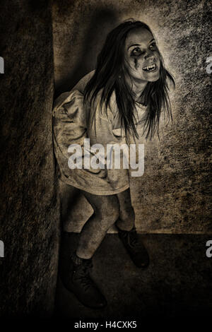 girl ghost vampire crazy scream - Stock Photo