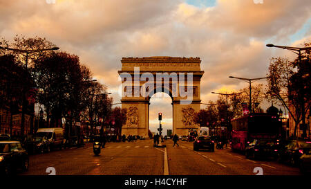 Europe, France, Paris, Arc de Triomphe, triumphal arch - Stock Photo