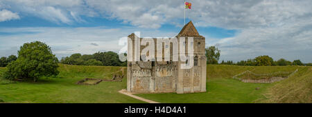 Castle at Castle Rising Panorama, Norfolk, England - Stock Photo
