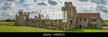 Priory at Castle Acre Panorama, Norfolk, England - Stock Photo