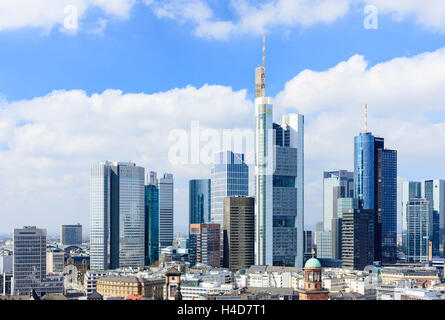 Europe, Germany, Hessen, Frankfurt, bank fourth, skyline with the high rises Main goal, eurotower, Gallileo, silver - Stock Photo