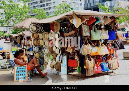 Market stalls in Avenida Rio Branco, Rio de Janeiro, Brazil, part town Centro - Stock Photo