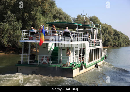 Biosphere reserve Danube delta, with Tulcea, Romania, excursion boat - Stock Photo