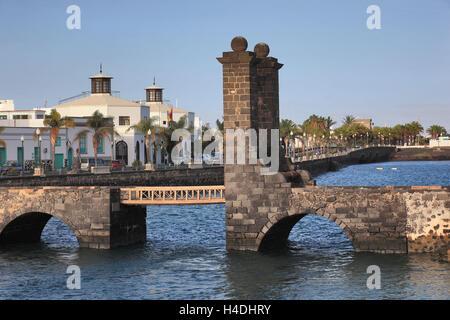 The sphere bridge, Puente de off Bolas, Arrecife, Lanzarote, Canary islands, Spain - Stock Photo