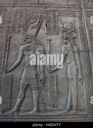 Kom Ombo temple at the Nile, Africa, Upper Egypt, reliefs, engravings, representations on the walls show the gods - Stock Photo