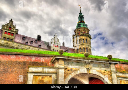 Kronborg Castle, known as Elsinore in the Tragedy of Hamlet - Helsingor, Denmark - Stock Photo