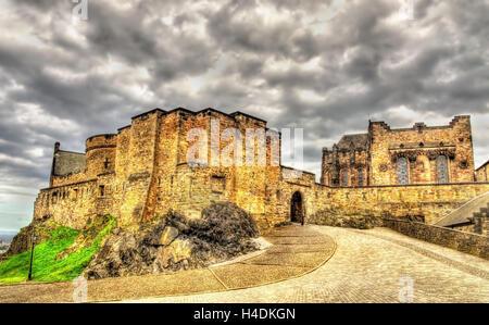 On the territory of Edinburgh Castle, Scotland - Stock Photo