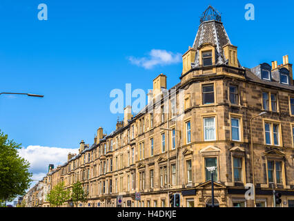 Residential buildings in South Leith district of Edinburgh - Scotland - Stock Photo