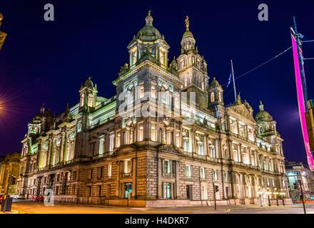Glasgow City Chambers at night - Scotland - Stock Photo