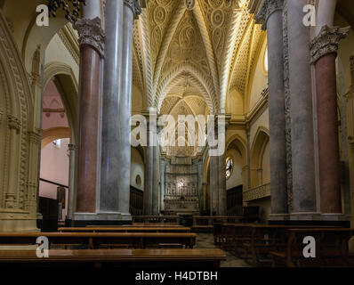 Interior of the Chiesa Matrice, a.k.a. Cathedral of Erice, dedicated to Our Lady of the Assumption - Stock Photo